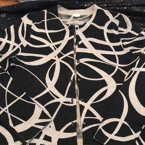 J. Crew medium black & gray cardigan marino wool